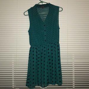 Teal Dress w/ Small & Large Black Polka Dots